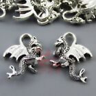 Dragon Charms 21mm Antiqued Silver Plated Pendants SC0015017 8 15 30PCs