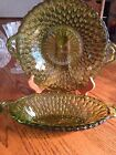 2 Green Glass Dishes with Handles Inverted Thumbprint Design Starburst