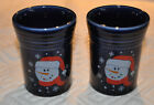 Fiestaware Button Snowman Tumblers(2) Fiesta 2004 Outlet -never used-rare vhtf