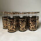 Vintage Culver Mid Century Gold Scroll High Ball Glasses Lot Of 7