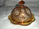 Rare Vtg 60's L.E. Smith Iridescent Amber Nut/Candy Dish With Lid Excellent Cond