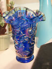 Fenton Art Glass Cobalt Blue Carnival Iridized Heavy Rose Flower Ruffled Vase