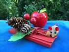 ANTIQUE Primitive MOUSE TRAP Cheese Apple Pip Berry Pine Cone Miniature Doll 4