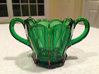 VINTAGE Mid-Century EMERALD GLASS OPEN SUGAR BOWL w/ gold gilt accents
