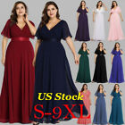 US Plus Size Long Formal V-neck Evening Party Dresses Christmas Prom Gowns 09890