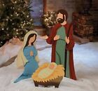 Outdoor Christmas Nativity Scene Large Jesus Mary Joseph Metal Decoration 3 PC