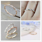 Size 5 10 Womens Rose Gold Inlaid Crystal Twist Rings Wedding Party Jewelry Gift