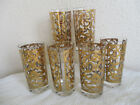 Vintage Georges Briard 6 Spanish Scroll Gold 12oz High Ball Glasses 5.75