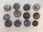 Lot of Small Antique Black Glass Buttons-Silver Luster