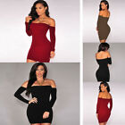 Womens Girls Long Sleeve Off Shoulder Bodycon Cocktail Evening Party Mini Dress