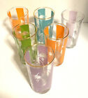 60'S RETRO MID CENTURY MODERN ABSTRACT DRINKING GLASSES  SET 6 A