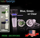 14mm or 18mm Male Glass Slide Bowl Thick Snowflake Honeycomb Star Green Or Blue