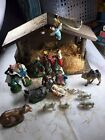 Vintage Christmas Nativity Set Plaster Chalk  Wood Creche Made in Japan