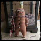 Primitive Gingerbread Man Tuck Ornies Doll Bowl Filler  Christmas Winter
