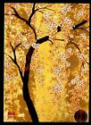 PAPYRUS Asian White Golden Blossoms Flowers Tree GOLD SHEEN Blank Note Card NEW