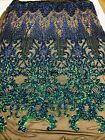 IRIDESCENT GREEN 4 WAY STRETCH SEQUINS FABRIC ON A MESH DRESS PROM GOWN BY YARD