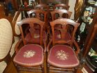 Antique Needlepoint Chairs Set Of 6 Eastlake Dining Room Victorian Floral
