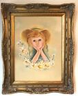 Frame Vtg Wood Picture Girl Oil Painting Ornate Bright  Baroque Style Antique