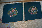Pair Vintage 1950s Floral Rose Needlepoint Chair Seats Covers Hand Made