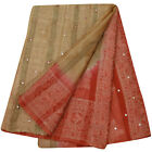 Vintage Saree Decorative Fabric Pure Khadi Silk Bandhani Printed Beige Used Sari