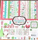 HOLLY JOLLY CHRISTMAS Scrapbook Paper Kit 12 Double Sided Sheets 2 StickerSheets