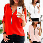 Plus Size Women Zipper V Neck T Shirt Casual Loose Roll Up Sleeve Tops Blouse