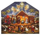 Wood Advent Calendar Box Christmas Nativity Scene 24 Doors for Candy Gifts