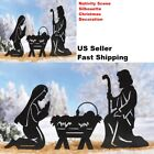 Nativity Scene Silhouette Xmas Decor Window Indoor Outdoor Yard Stake Set 3 Pc