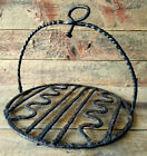 RARE Antique HANGING GRIDDLE Wrought Iron BROILER c1750 Hand Forged Colonial Era