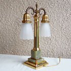 VINTAGE STUDENT DESK LAMP DOUBLE LIGHT BRASS ONYX WHITE GLASS TWIN SHADES