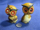 Vintage Resin Happy Resting Horned Owl Couple Salt and Pepper Shakers   83