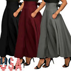 Women High Waist Flared Pleated Long Dress Gypsy Maxi Skirt +Pockets 5 Sizes US