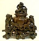 VINTAGE CHINESE INTRICATELY CARVED HARDSTONE FOO DOG CENSER w/ LID REPUBLIC ERA