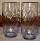 SET OF FOUR Vintage Libbey Light Blue Optic Spiral Glasses Coolers Swirl Tall 6