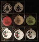 8 Fiesta Fiestaware Christmas Ornaments 97 98 99 Dancing Girl, Holly Ribbon Tree