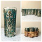 6 VTG Highball Tumblers Blue-Green Panel Gold and White Birds w Basket Carrier