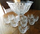 Jeannette Glass FEATHER 12 Pc. Punch Bowl Set Bowl, Stand / Base, Cups