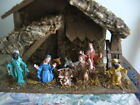 VTG Nativity Set Wood  Cork Stable Creche 8 Plastic Figures Xmas Decor Italy