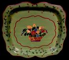ANTIQUE TOLE TRAY HAND PAINTED FLORAL BASKET METAL TOLEWARE WOW!