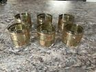 Set of 6 Lowball Rock Glasses Mid Century Gold And Green