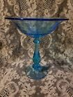 VINTAGE FOOTED BLOWN  AQUA BLUE GLASS COMPOTE CANDY DISH 8