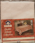 Vintage Quaker Lace Holiday Christmas Winter White Snowmen Tablecloth 70 ROUND