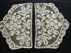 Two Antique Italian Antimacassar Hand Made Darning on Knoted Net Grape Design