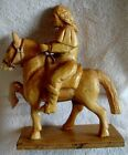 Folk Art Hand Carved Wooden Horse with Rider