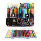 48x Fluorescent Gel Ink Pen Refill Watercolor Brush Colorful Stationery Set LB