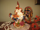 PAIR ROOSTER  CHICKEN STATUE FIGURINE FARM ANIMAL MULTI COLOR HEN FRUITS