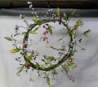 Spring Floral Door Hanging Summer Flower Home Decor Handmade Primitive Wreath