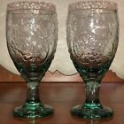 (2) Vintage LIBBEY's Orchard Fruit Grapes/Pears Aqua Lt.Sage Green Glass Goblets