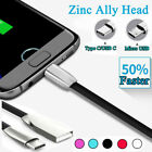 Zinc Alloy Micro USB 24A Fast Charging Data Cable Lead For Android Smart Phone