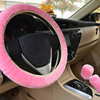 3pcsset Plush Fur Fluffy Car Steering Wheel Cover Car Handbrake Accessory Us